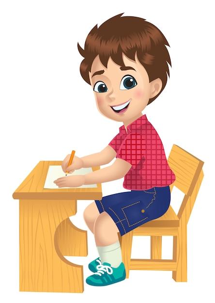 Un garçon étudie sur une table Vecteur Premium