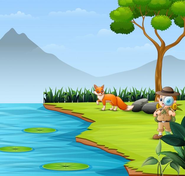 Le garçon explorateur dans la rivière avec un renard Vecteur Premium