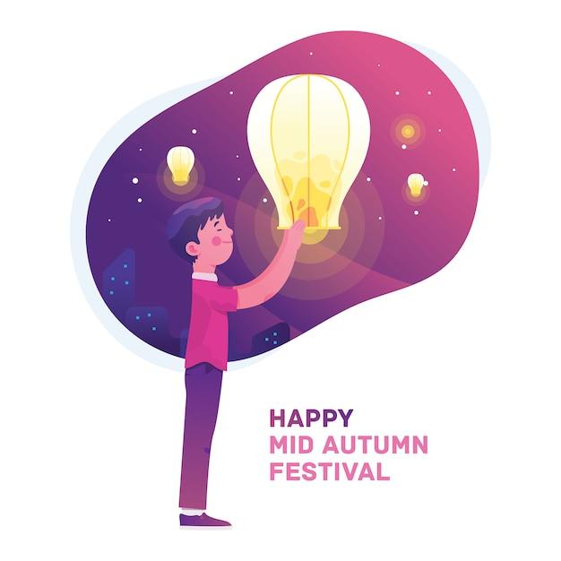 Garçon fête mi festival d'automne Vecteur Premium