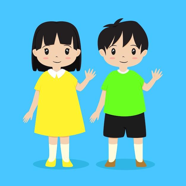 Garçon et fille agitant leur main. vecteur de caractère enfants Vecteur Premium