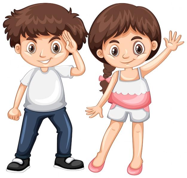 Garçon et fille au visage heureux Vecteur gratuit