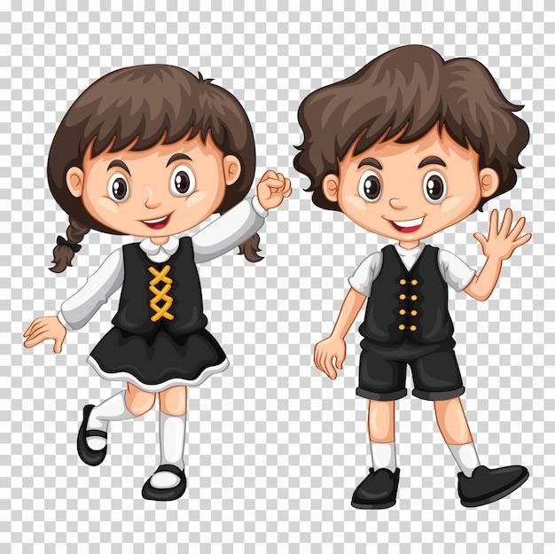 Garçon et fille aux cheveux noirs Vecteur gratuit
