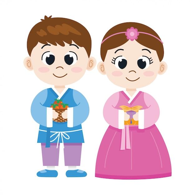 Garçon Et Fille Coréenne De Dessin Animé Mignon En Costume National, Illustrationt Vecteur Premium