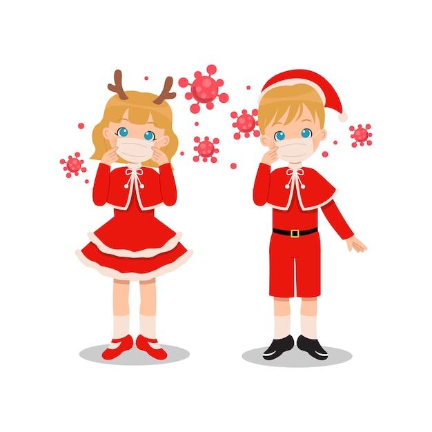 Garçon Et Fille En Costume De Noël Portant Un Masque Pour Se Protéger Du Virus Corona. Clipart De Dessin Animé Plat Isolé Vecteur Premium