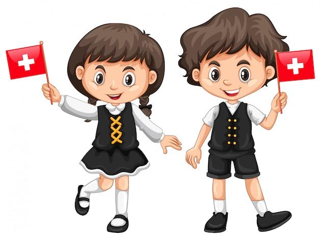 Garçon et fille avec drapeau suisse Vecteur Premium