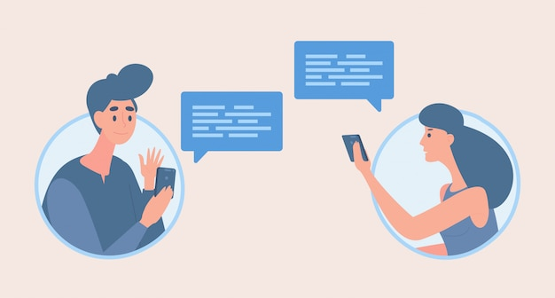 Garçon Et Fille échangeant Des Messages Cartoon Illustration. Les Gens Parlent Avec Des Bulles De Communication. Vecteur Premium