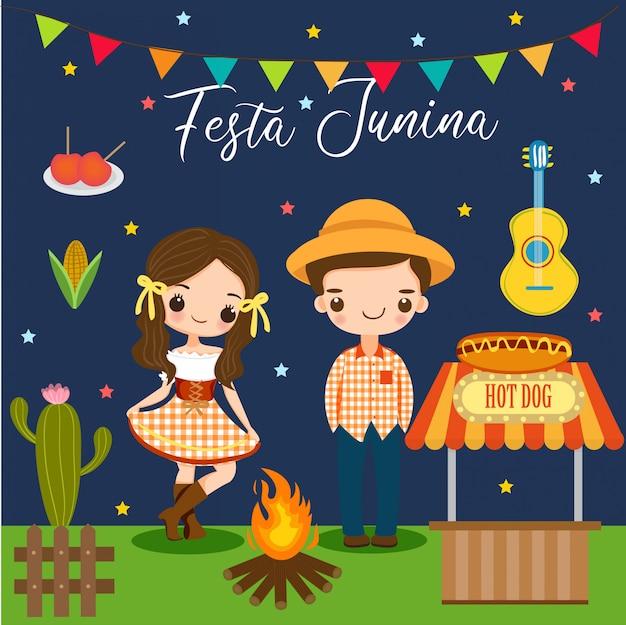 Garçon et fille et éléments pour festa junina Vecteur Premium