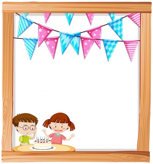 Garçon et fille sur fond de cadre d'anniversaire Vecteur gratuit