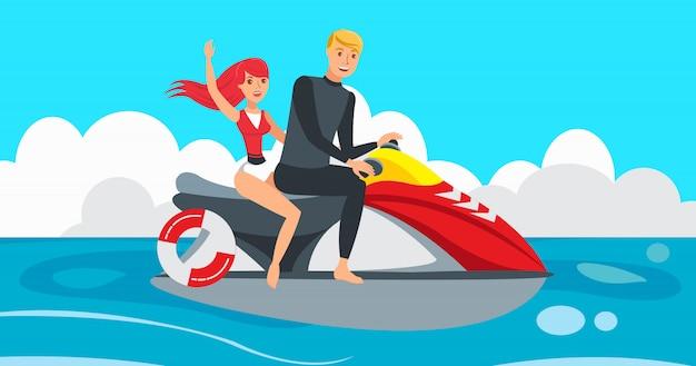 Garçon et fille sur jet ski Vecteur Premium