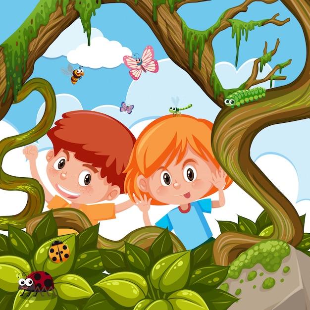 Garçon et fille jouant dans la nature Vecteur Premium