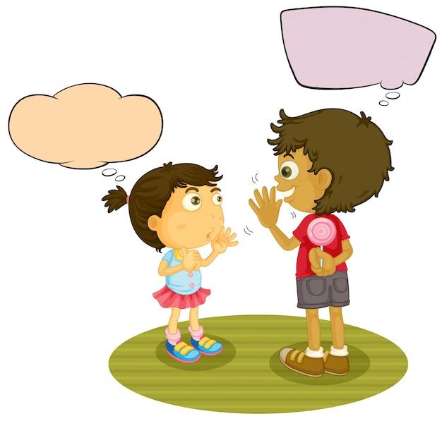 Garçon et fille parlant avec ballon Vecteur Premium
