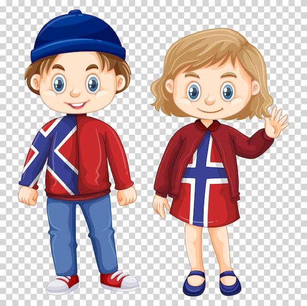 Garçon et fille portant une chemise de norvège Vecteur gratuit