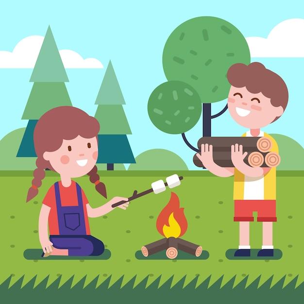 Garçon et fille près du feu de joie Vecteur gratuit
