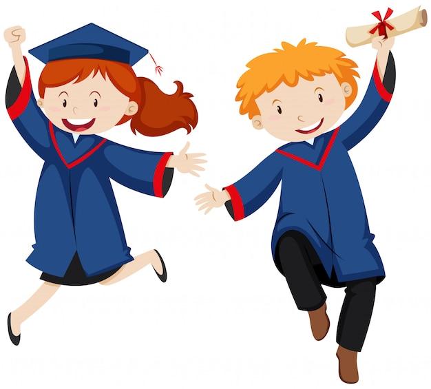 Garçon et fille en robe de graduation Vecteur gratuit