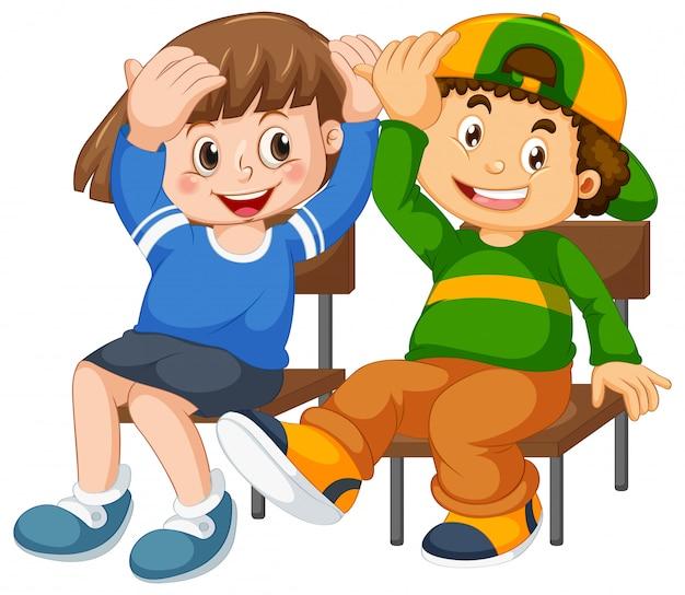Garçon Et Fille S'asseoir Sur La Chaise Vecteur gratuit