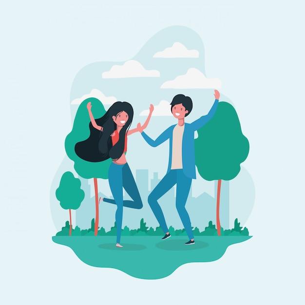 Garçon et fille sautant dans le parc Vecteur gratuit