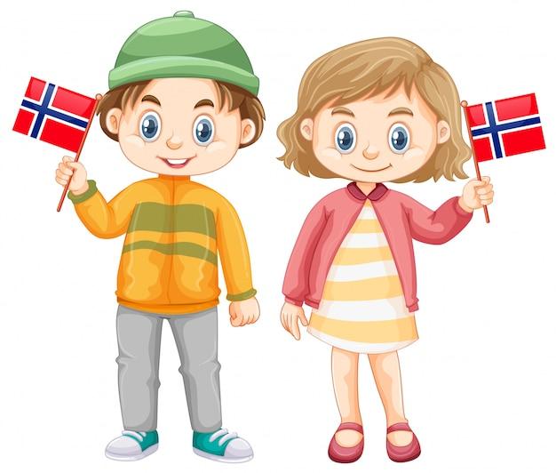 Garçon et fille tenant le drapeau de la norvège Vecteur gratuit