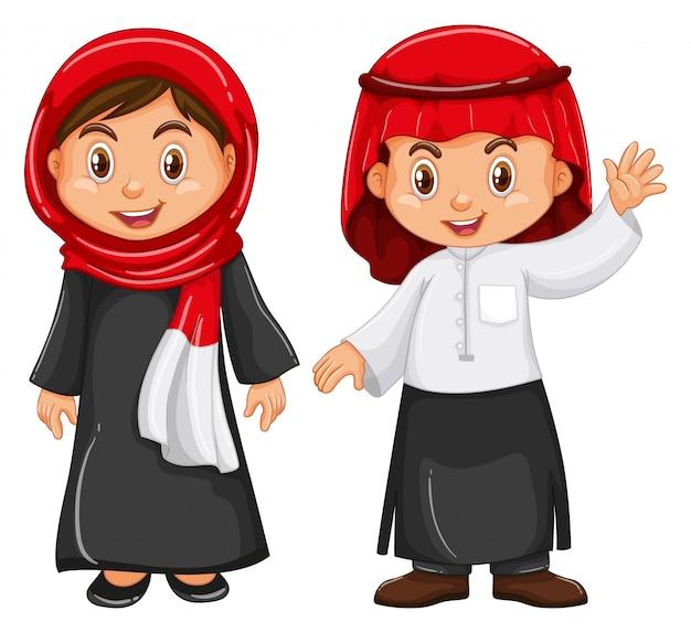 Garçon et fille en tenue d'irag Vecteur gratuit