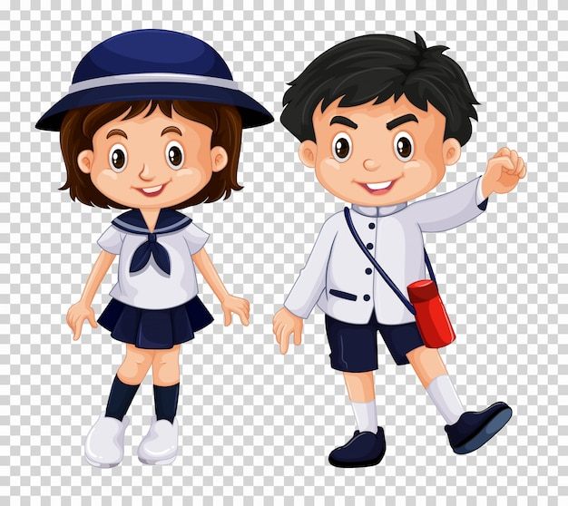 Garçon et fille en uniforme scolaire Vecteur Premium