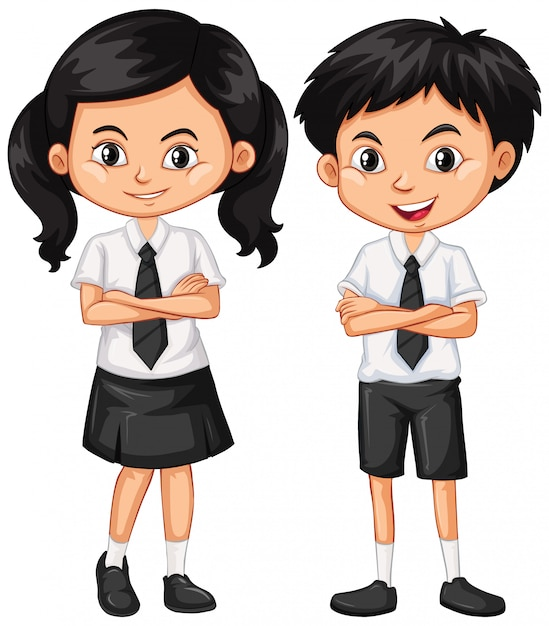 Garçon et fille en uniforme scolaire Vecteur gratuit