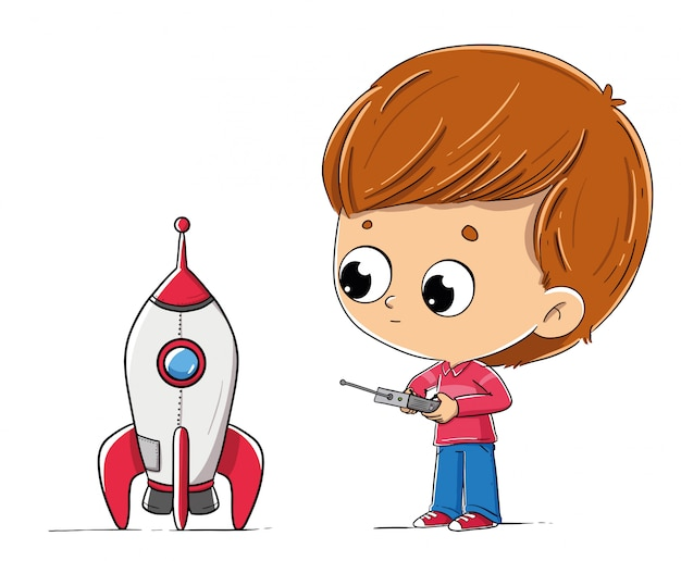 Garçon avec une fusée de jouet Vecteur Premium