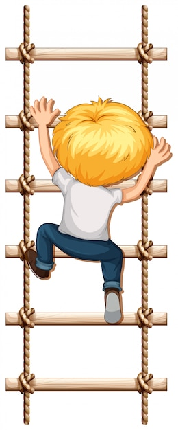 Un garçon grimpe à la corde Vecteur gratuit