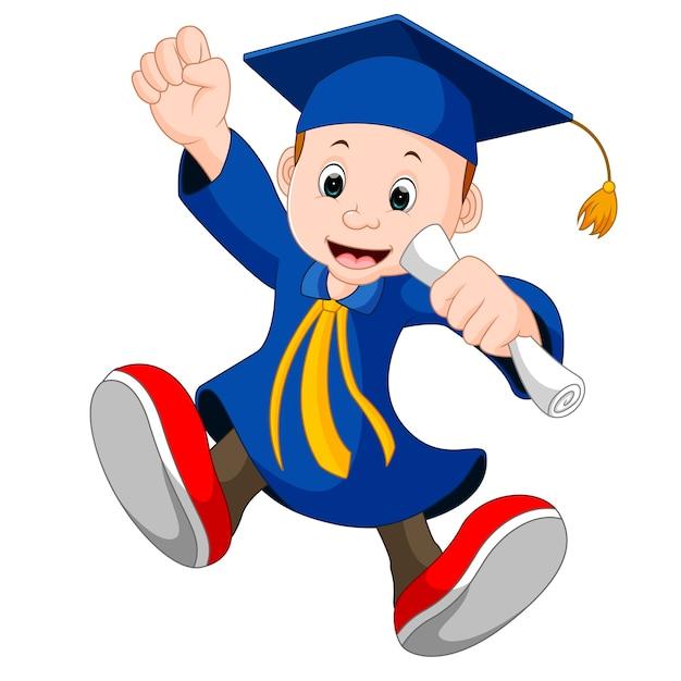 Garçon heureux après l'obtention du diplôme Vecteur Premium