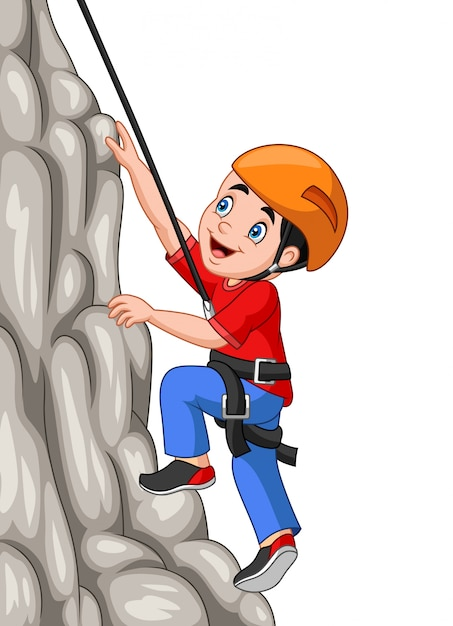 Garçon heureux cartoon escalade le rocher Vecteur Premium