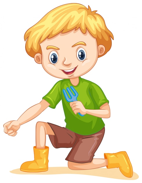 Un Garçon Heureux Avec Une Fourchette De Jardinage Vecteur gratuit