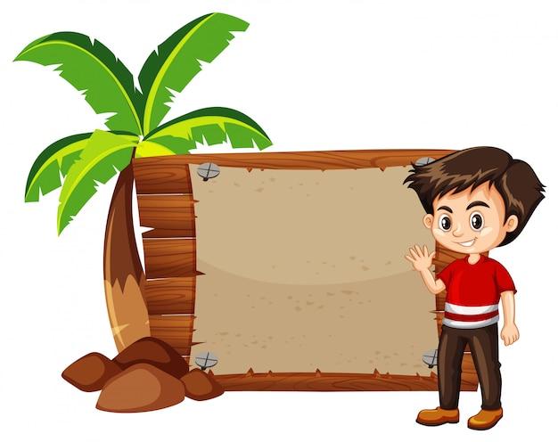 Garçon heureux et panneau en bois Vecteur gratuit
