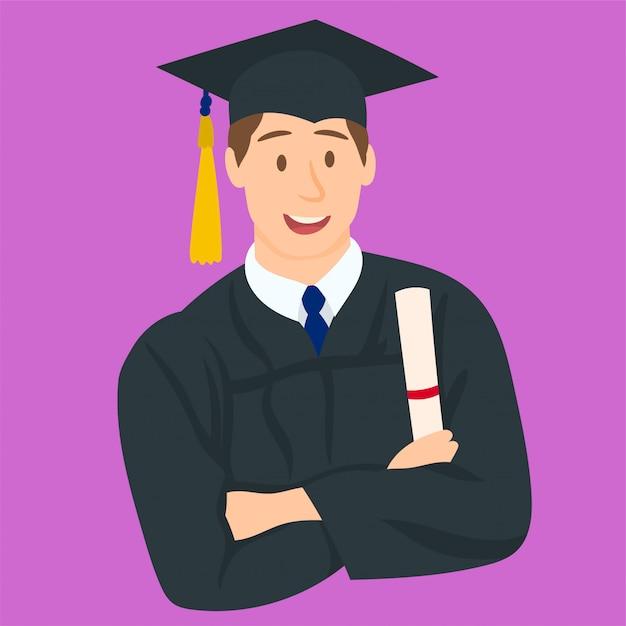 Garçon heureux son jour de remise des diplômes Vecteur Premium