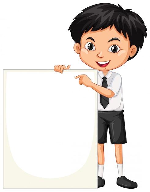 Un garçon heureux avec tableau blanc Vecteur gratuit