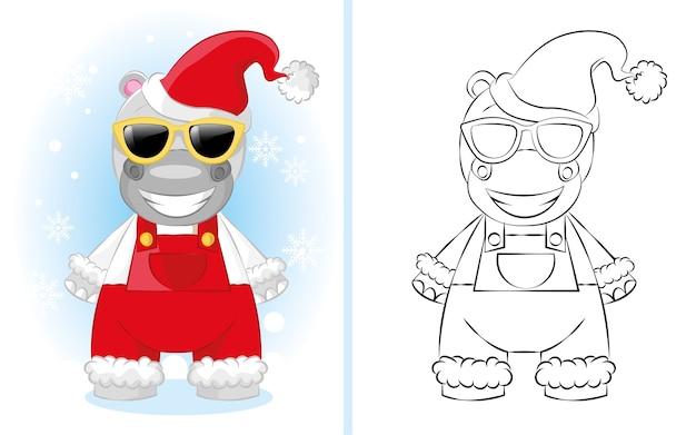 Garçon Hippopotame Dessin Animé Mignon En Salopette Rouge Avec Bonnet De Noel. Illustration Pour Livre De Coloriage Pour Enfants. Vecteur Premium