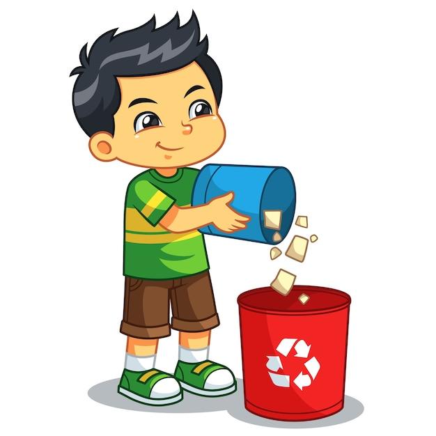 Garçon jetant des ordures dans la poubelle Vecteur Premium