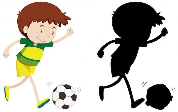 Garçon Jouant Au Football En Couleur Et Silhouette Vecteur gratuit