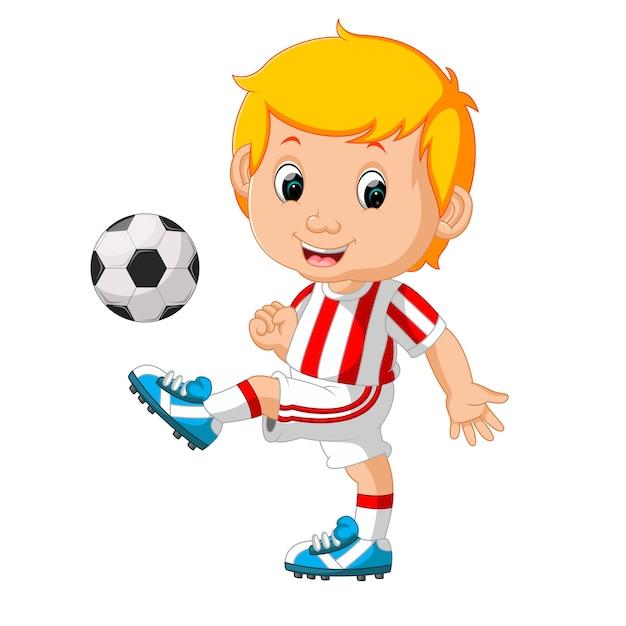Garçon Jouant Au Football Vecteur Premium