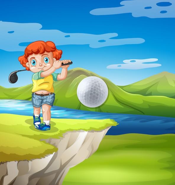 Garçon jouant au golf dans la nature Vecteur gratuit