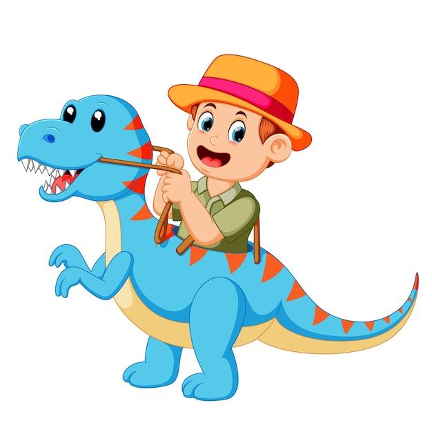 Garçon jouant et utilisant le costume bleu du tyrannosaure rex Vecteur Premium