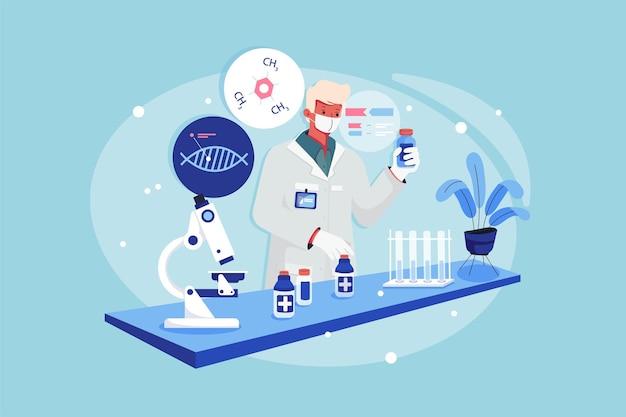 Garçon De Laboratoire Tenant Le Flacon De Médicament Dans Une Main Vecteur Premium
