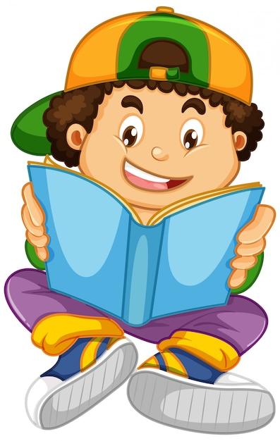 Garçon lisant un livre Vecteur gratuit
