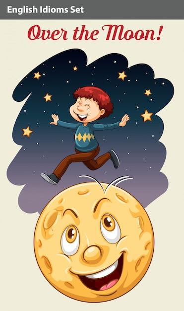 Un garçon sur la lune Vecteur Premium