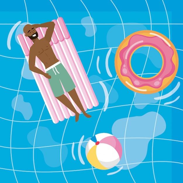 Garçon avec maillot de bain d'été Vecteur gratuit