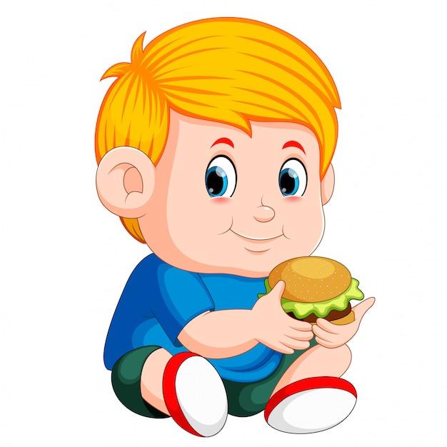 Garçon mange hamburger Vecteur Premium