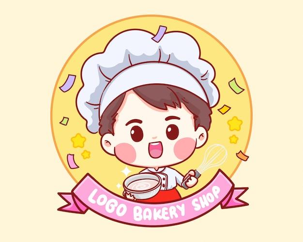 Garçon Mignon Chef De Boulangerie Souriant Logo Illustration Dessin Animé Art. Vecteur Premium