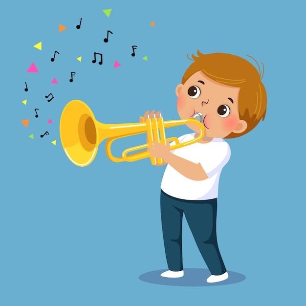 Garçon Mignon Jouant De La Trompette Vecteur Premium
