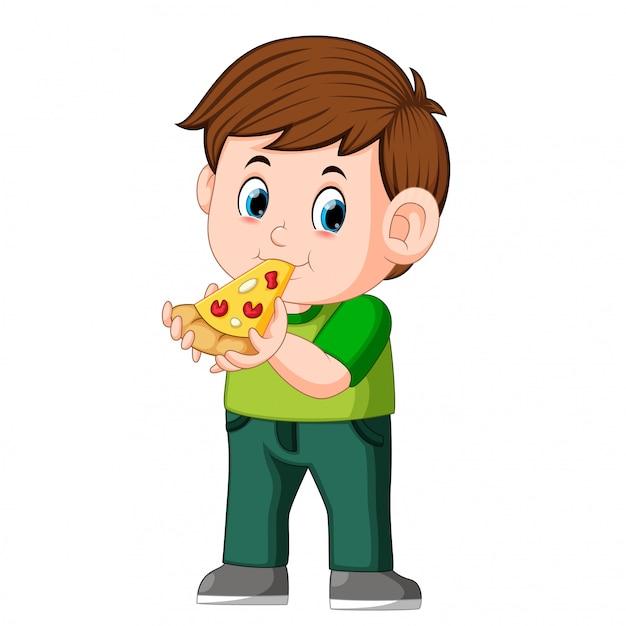 Garçon mignon en train de manger une pizza Vecteur Premium
