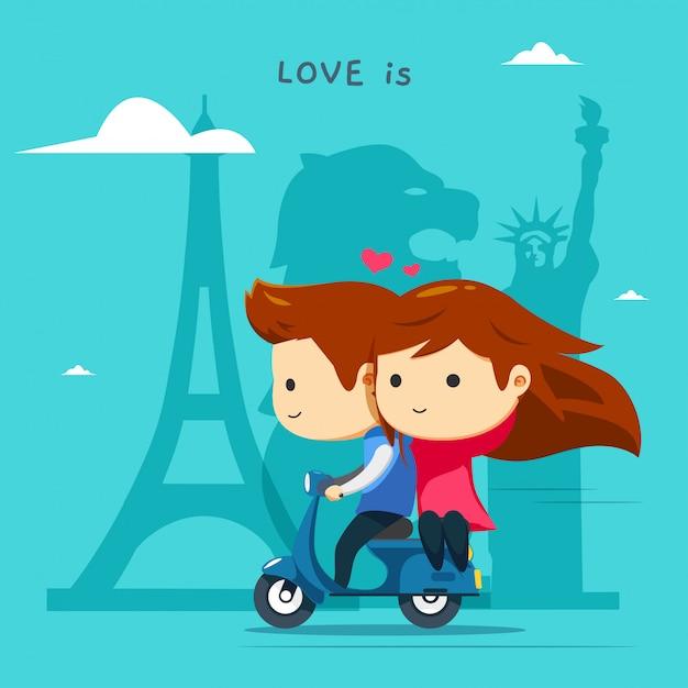 Un garçon monte un scooter bleu avec sa fille Vecteur Premium