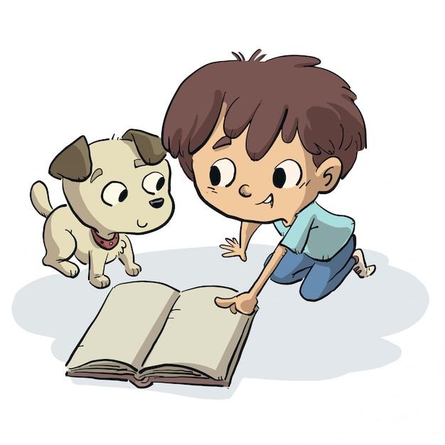 Garçon montrant quelque chose d'un livre à son chien Vecteur Premium