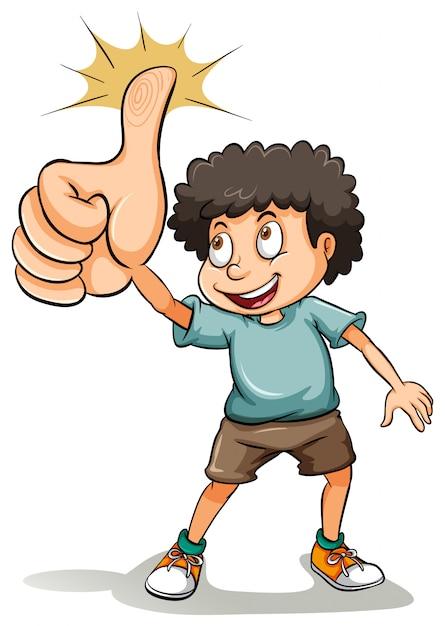 Un garçon montrant son pouce Vecteur gratuit