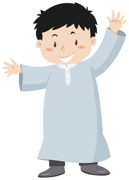 Garçon musulman agitant les mains Vecteur gratuit